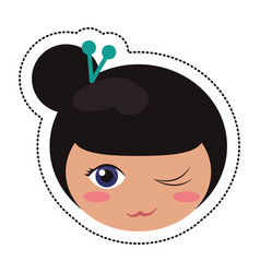 kokeshi head traditional culture vector image