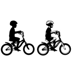 little boy riding bicycle silhouette and sketch vector image