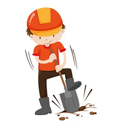 Man digging hole on the ground vector