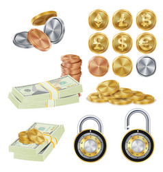 Money secure concept metal coin money vector