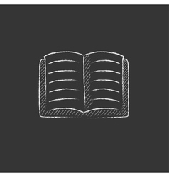 Open book drawn in chalk icon vector