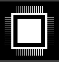Processor the white color icon vector