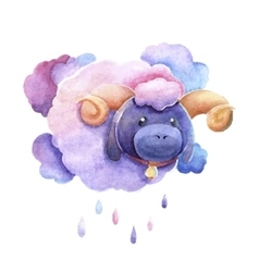 Sad lamb as a cloud vector
