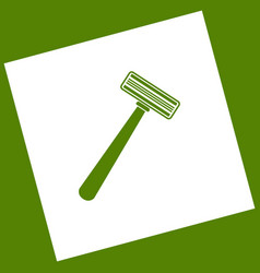 Safety razor sign white icon obtained as vector