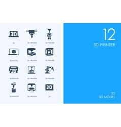 Set of blue hamster library three d printer icons vector