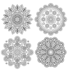 Set of indian boho floral mandalas vector
