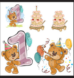 Set of with brown teddy bear vector