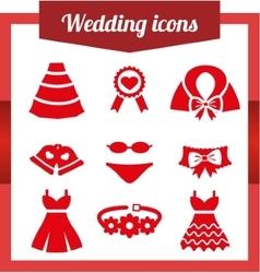 Set wedding icons vector