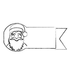 Silhouette blurred ribbon with face cartoon santa vector