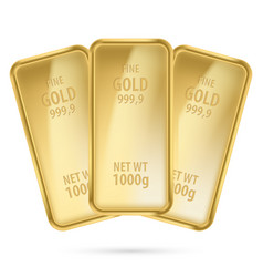 three gold bars on white background vector image