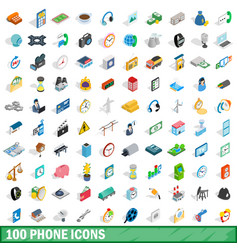 100 phone icons set isometric 3d style vector image vector image