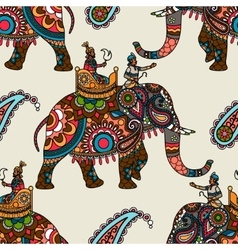Indian maharadjah on elephant seamless background vector image