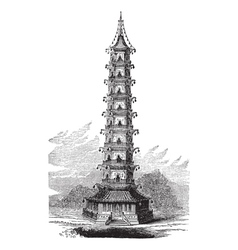 Porcelain tower vintage engraving vector