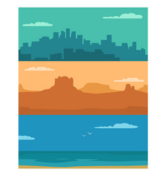 Panorama night city day sea and sunset mountain vector
