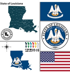 Map of louisiana with seal vector