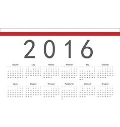 Rectangle polish 2016 year calendar vector