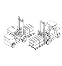 Forklift elevate the pallet with cardboard boxes vector