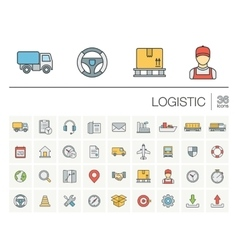 Logistic and distribution color icons vector