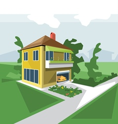 House in 2 floors view from perspective with flowe vector