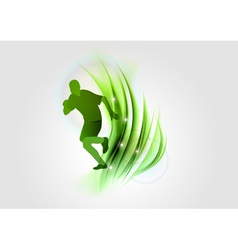 Abstract white green runner vector