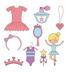 ballet set of dancer things girl ballet dress vector image
