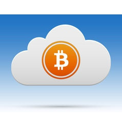 Bitcoin in cloud vector