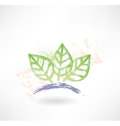 Brush icon with three green leafs ecology vector