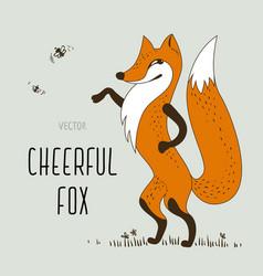 cartoon cheerful fox vector image