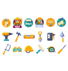 Cartoon icons set with tools for hardware store vector