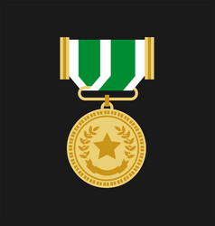Champion or veteran medal award chevron vector