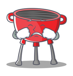 Crying barbecue grill cartoon character vector