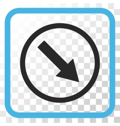 Down-right rounded arrow icon in a frame vector