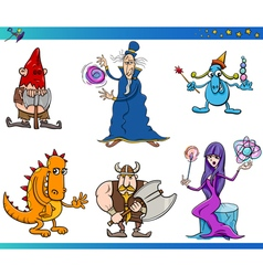 fantasy characters cartoon set vector image