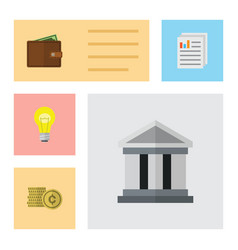 Flat exchequer set of cash billfold document and vector