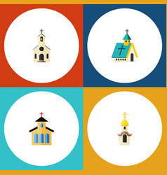 Flat icon church set of building architecture vector