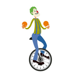 funny clown juggling balls while riding unicycle vector image
