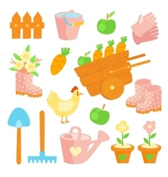 Garden flat set icons vector image vector image