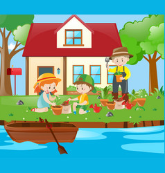 gardener and kids planting trees in garden vector image