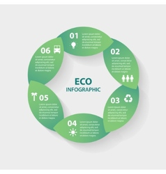 green leaves circle round sign infographic vector image