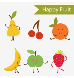 Happy fruit characters vector