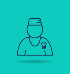 isolated linear icon - dentist vector image