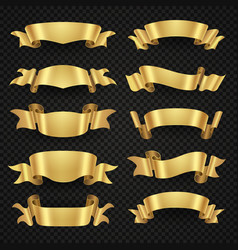 Isolated modern golden shiny 3d ribbon banners vector