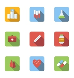 Medicine icons set flat style vector image vector image