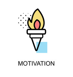 motivationicon with torch on white background vector image vector image