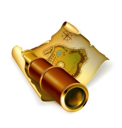 Old map and spyglass vector image