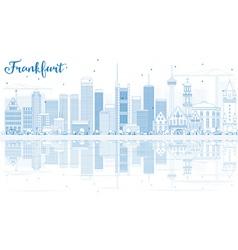 Outline Frankfurt Skyline with Blue Buildings vector image vector image