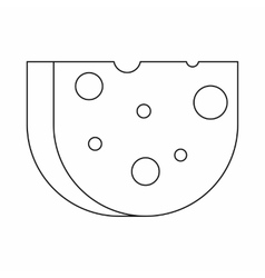 Piece of swiss cheese icon outline style vector