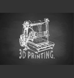 Plastic 3d printer on blackboard vector