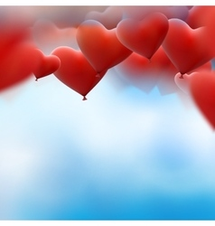 Red heart balloons flying bunch EPS 10 vector image vector image