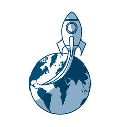 rocket space with planet earth vector image vector image